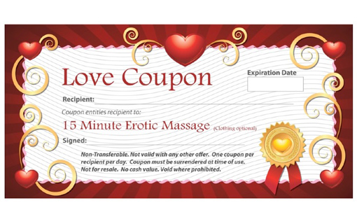 "15-Minute Erotic Massage ""Love Coupon"""